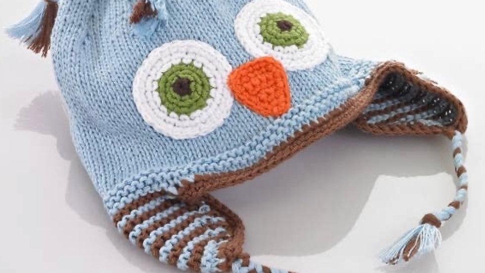 Blue owl baby hat (0-6 months)