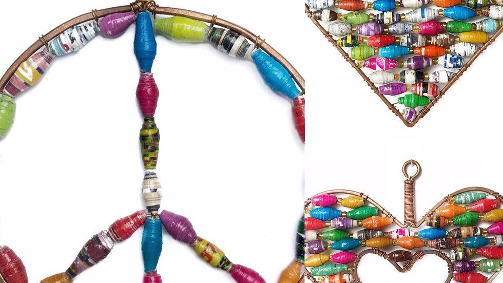 Handmade fairtrade paper bead ornament