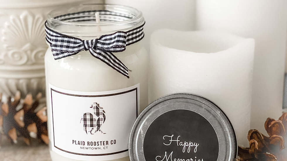 Plaid Rooster Co Happy Memories Candle - 12oz mason jar