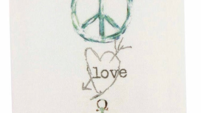 French graffiti Peace Love Lake Dishtowel