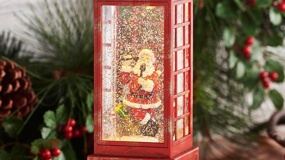 Santa in phone booth water lantern