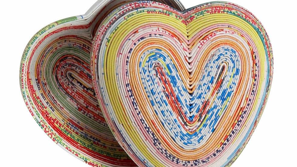 Handmade fairtrade paper heart box