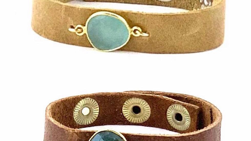 Hide & Stone leather gemstone bracelet