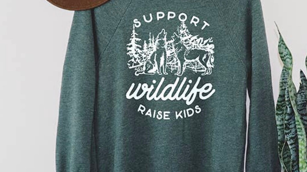 Support wildlife raise kids sweatshirt