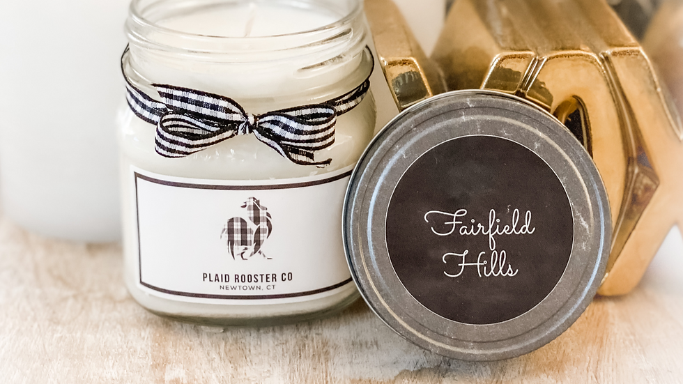 Plaid Rooster Fairfield Hills Candle - 8oz mason jar
