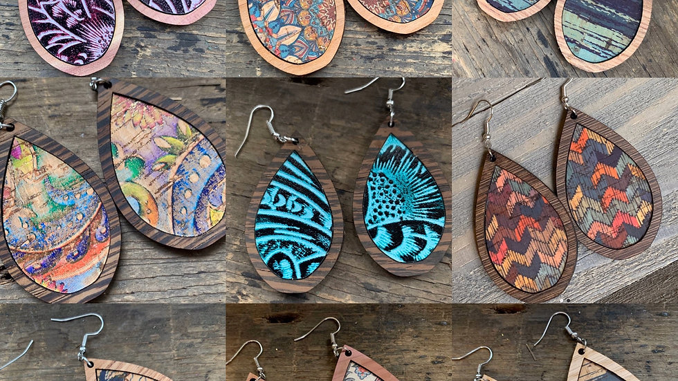 Handcarved Wood tear drop earrings