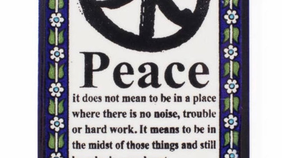 Handmade fairtrade Meaning of Peace Wall Plaque