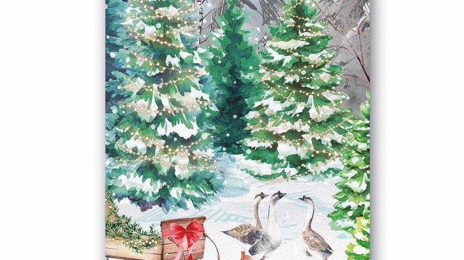 Michel Design Christmas Snow Hostess Napkins