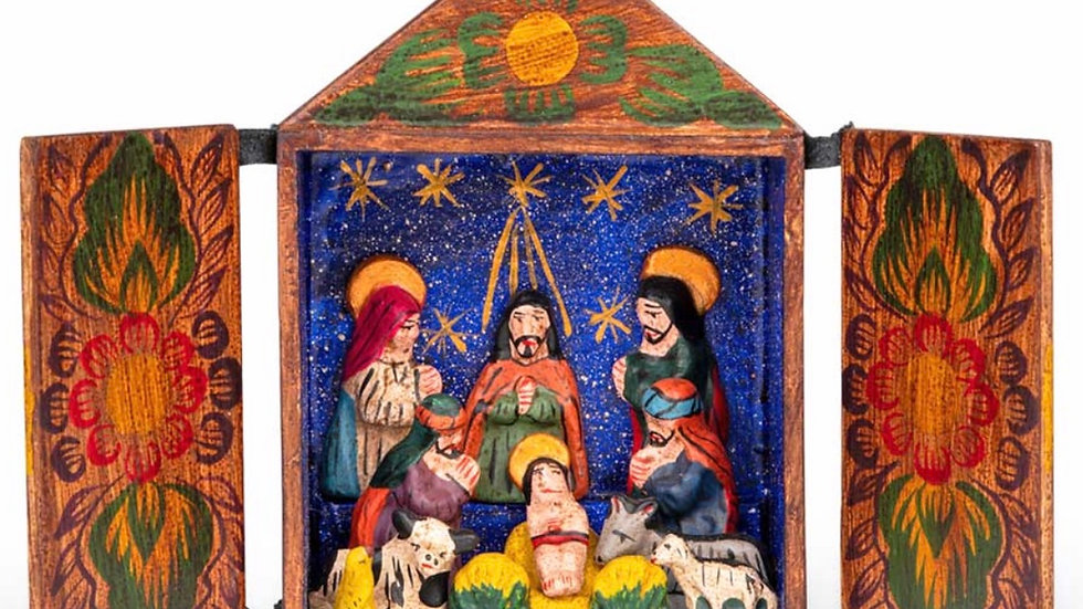 Handmade fair trade painted wood nativity