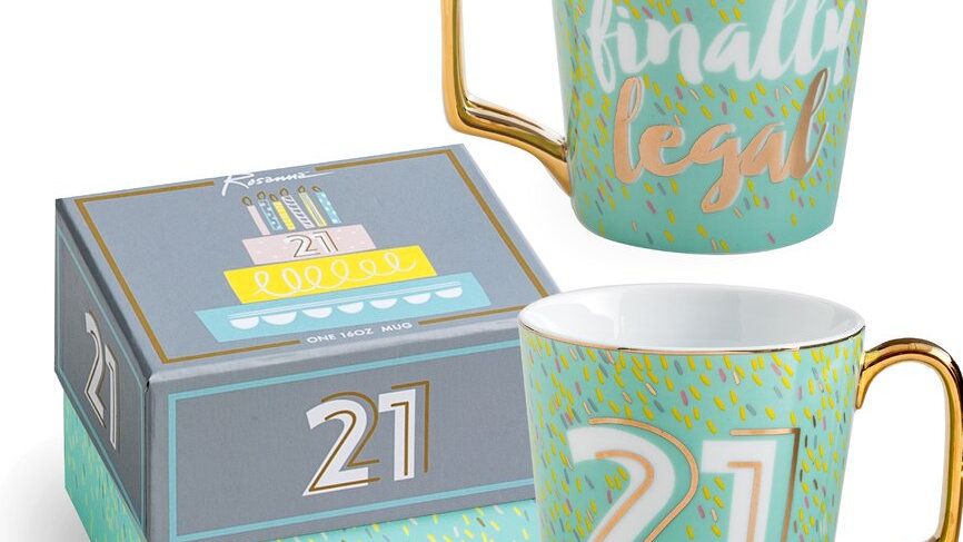 21 milestone birthday mug with gift box