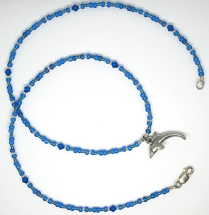 Blue Beaded Dolphin Necklace