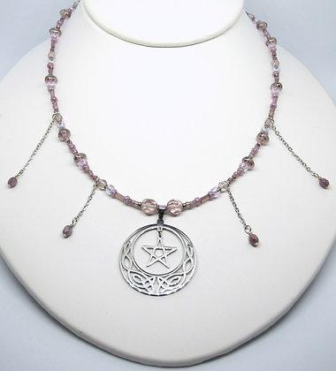 Antique-Pink Necklace w/Celtic Moon Pent