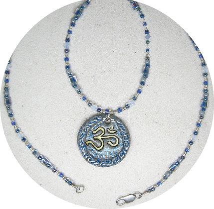 Sculpted Ohm Pendant - Silver Blue