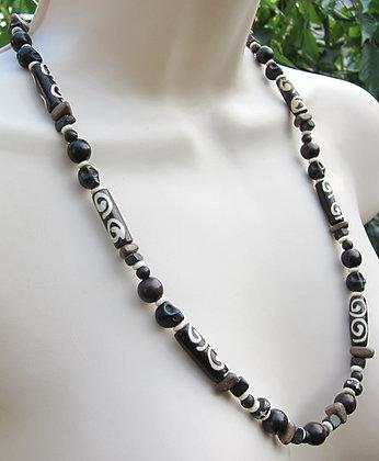 Batik Bone, Wood, and Skulls Necklace (Unisex)
