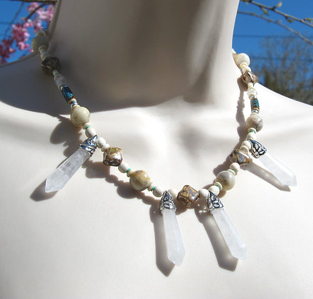Beach Princess - Crystal shard and Agate Necklace
