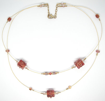 14K Art Glass Floating Bead Necklace