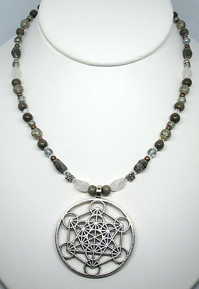 Metatron's Cube - Glass and Gemstone Necklace