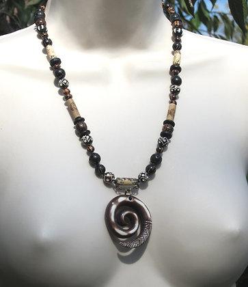 Spiral Carved Horn Necklace (Unisex)
