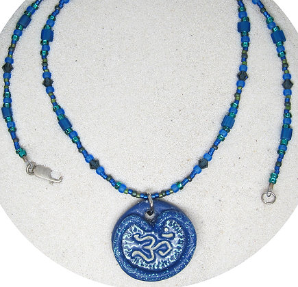 Sculpted Ohm Necklace - Blue Green