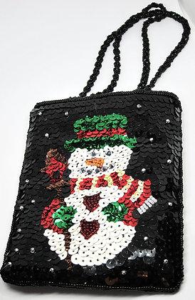 Sequined Snowman Handbag with Glittery Snowman Post Earrings