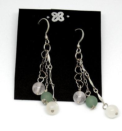 Earrings - Sterling, Rose Quartz, Aventurine, & Moonstone