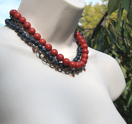Sponge Coral, Dumortierite and Antiqued Brass Choker