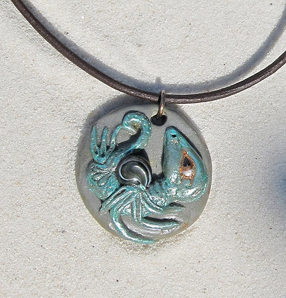 Dragon Fetus with Black Mother of Pearl Pendant Necklace (Unisex)