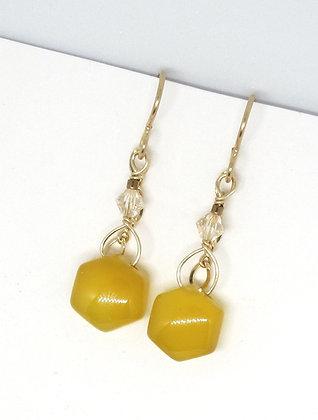 Yellow Chalcedony with 14K Earrings