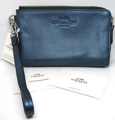 Coach Blue Leather Wristlet Purse