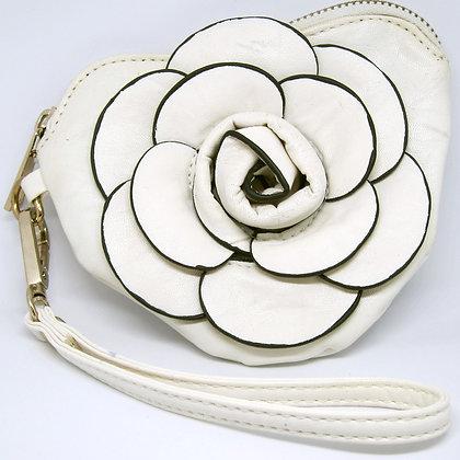 Leatherish Rose Wristlet Purse
