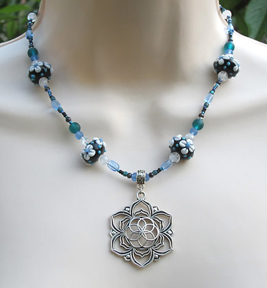 Handblown Glass with Flower of Life Necklace