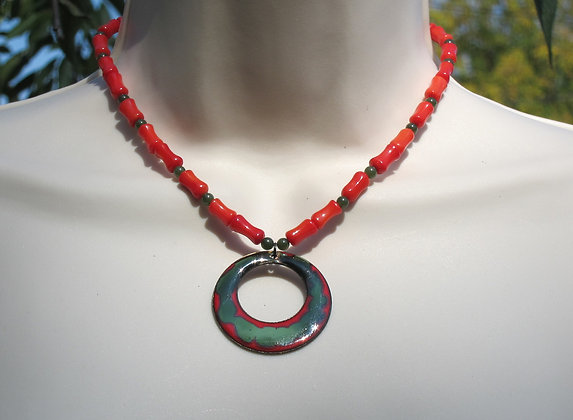 Red Bamboo Coral and Jade Choker with Copper Enameled Pendant