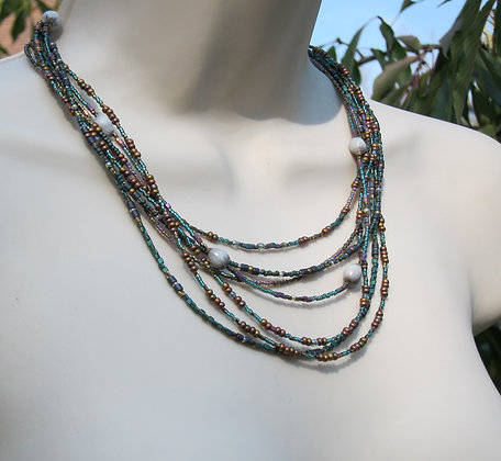 Brightly Colored Multi-strand Necklace