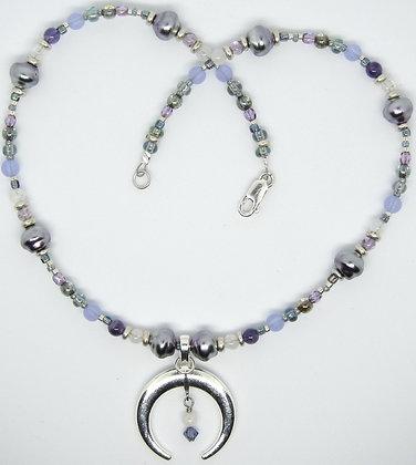 Crescent Moon Necklace w/Moonstone & Amethyst