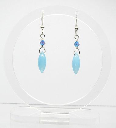 Blue Chalcedony and Swarovski Earrings