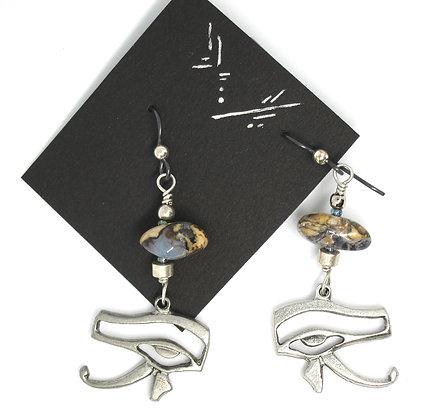 Eye of Horus, Blue Chalcedony Earrings