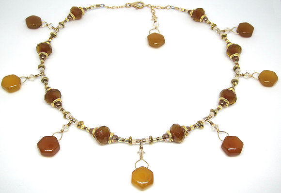 Yellow Chalcedony with 14K Gold Choker