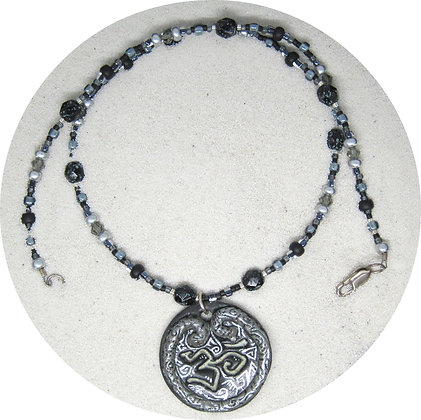 Sculpted Ohm Necklace - Silver Black