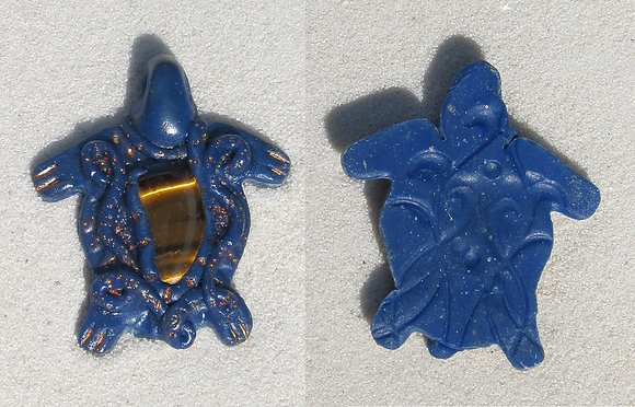 Blue Turtle Pendant with Tigers Eye