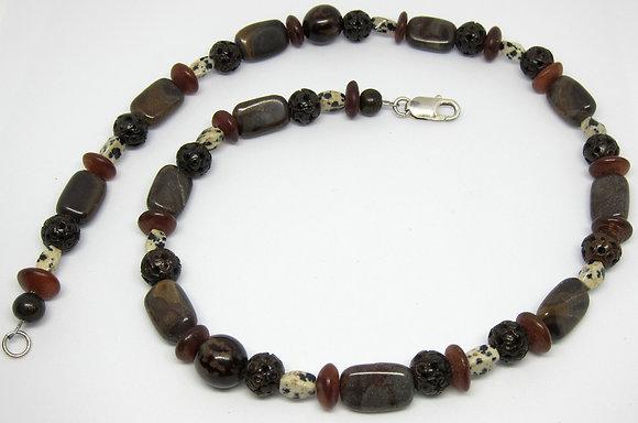 Jasper, Wood, Seed, & Horn Necklace (Unisex)