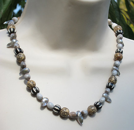 Fresh Water Pearl, Bone & Seed Necklace (Unisex)