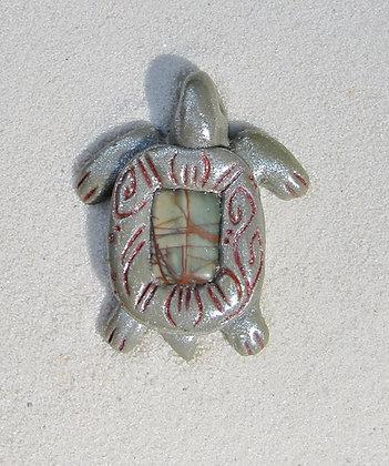 Silver Turtle Pendant with Jasper