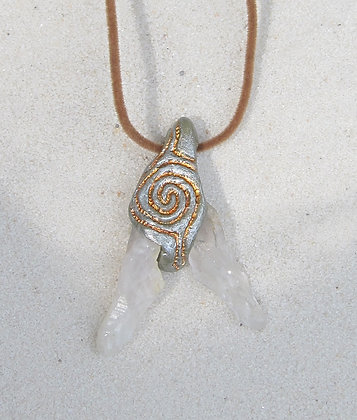 Quartz Duo with Carved Double Spiral Pendant  (Unisex)