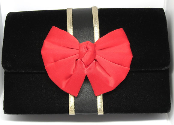 Fancy Velvet Evening Clutch with Red Bow