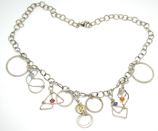 Sterling Silver Geometric Dangle Necklace