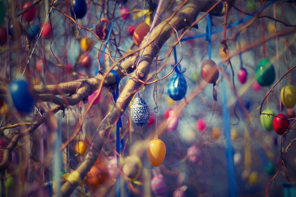 Ovos coloridos na Árvore de Páscoa