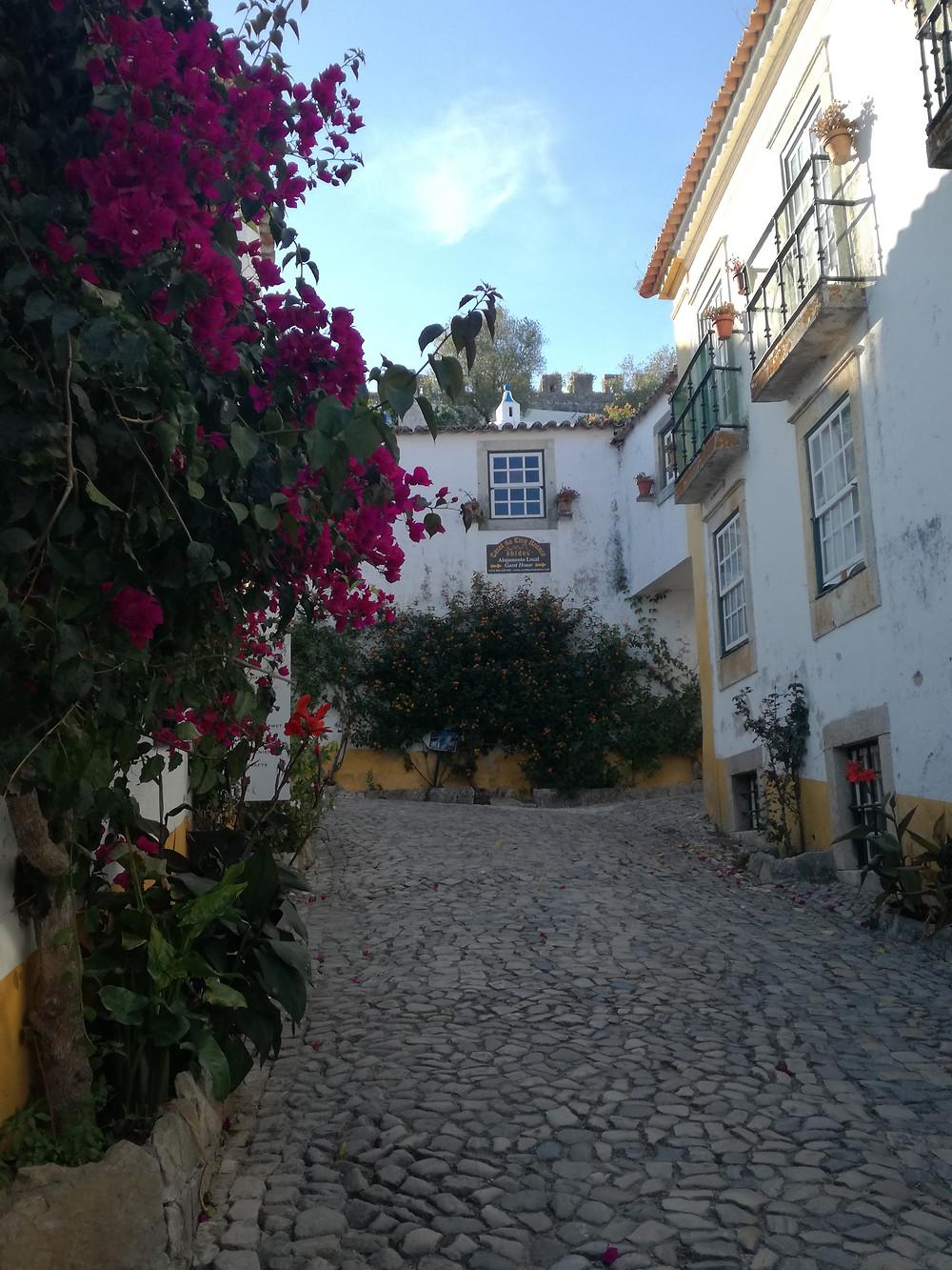 Um rua com as muralhas ao fundo em Óbidos