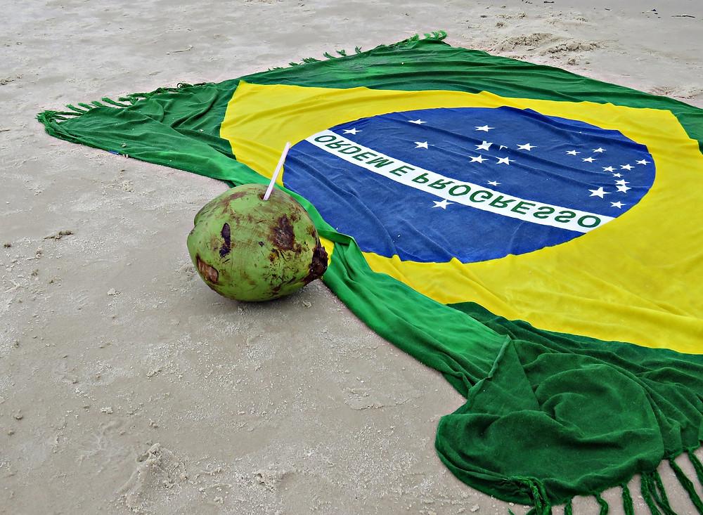 Praia, água de coco e canga do Brasil