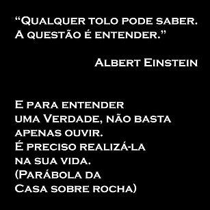 'Qualquer tolo pode saber, a questão é entender' - Einstein