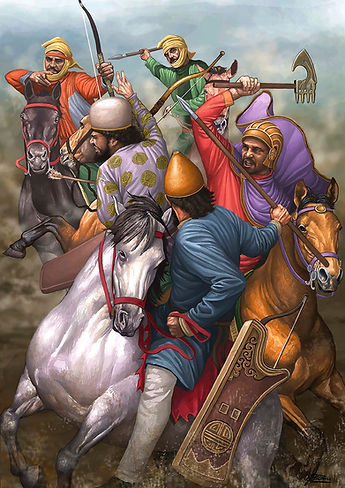 Cyrus, distinguished here with a purple cloak, attacks two Medean cavalrymen in the battle of Hyrba